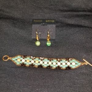 2 piece handmade earth stones fashion jewelry set